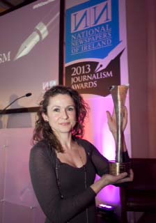 NNI National Journalist of the Year 2013 awarded to Irish Times journalist Kitty Holland for her work on the Savita Halappanavar case